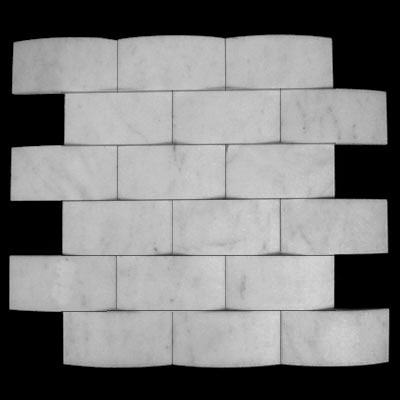 Carrara Marble Italian White Bianco Carrera 3D Cambered 2x4 Mosaic Tile Honed