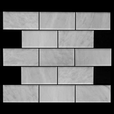 Carrara Marble Italian White Bianco Carrera 3x6 Marble Subway Tile Beveled Honed
