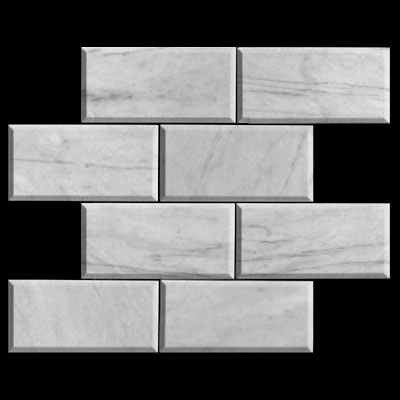 Carrara Marble Italian White Bianco Carrera 6x12 Marble Subway Tile Beveled Honed
