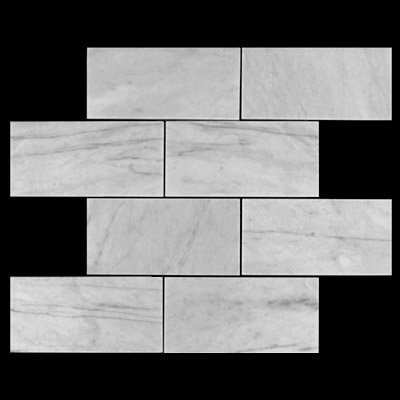 Carrara Marble Italian White Bianco Carrera 6x12 Marble Subway Tile Polished