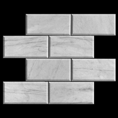 Carrara Marble Italian White Bianco Carrera 6x12 Marble Subway Tile Beveled Polished