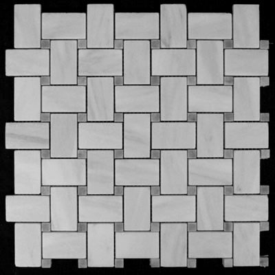Carrara Marble Italian White Bianco Carrera Basketweave Mosaic Tile with Bardiglio Gray Dots Honed