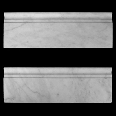 "Carrara Marble Italian White Bianco Carrera 5/8"" Baseboard Molding Honed"