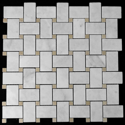 Carrara Marble Italian White Bianco Carrera Basketweave Mosaic Tile with Crema Marfil Dots Polished