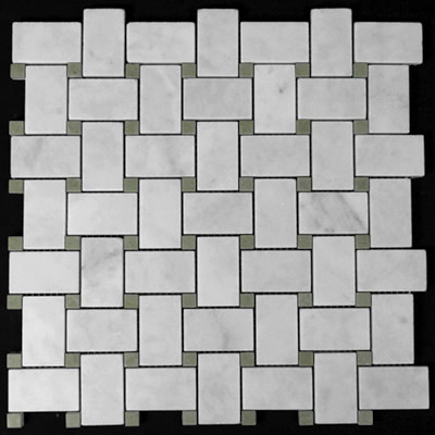 Carrara Marble Italian White Bianco Carrera Basketweave Mosaic Tile with Green Dots Honed