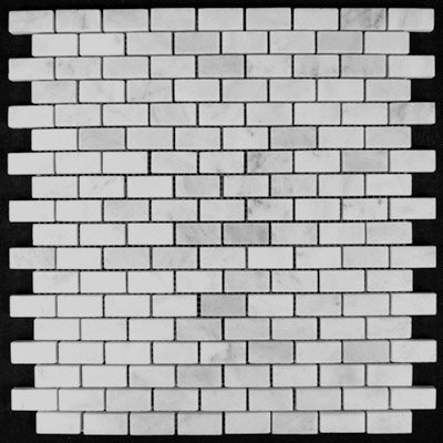 Carrara Marble Italian White Bianco Carrera Mini Brick Mosaic Tile Polished