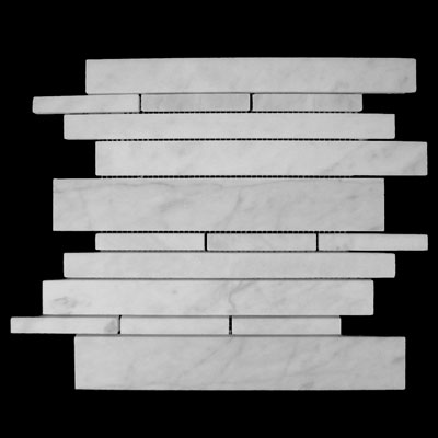 Carrara Marble Italian White Bianco Carrera Random Brick Random Strip Honed