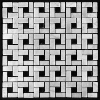 Carrara Marble Italian White Bianco Carrera Target Pinwheel Pattern Marble Mosaic Tile with Nero Marquina Black Dots Honed