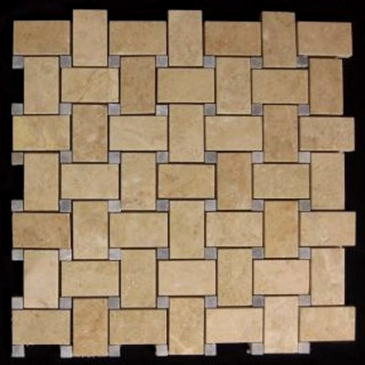 Crema Marfil Marble Basketweave Mosaic Tile with Bardiglio Gray Dots Polished